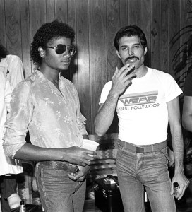 Freddie Mercury and Michael Jackson - Photography by Neal Preston Copyright Queen Productions Ltd